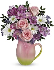Spring Tulip Pitcher Bouquet Flowers